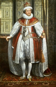 Portrait by Paul van Somer, c. 1620. In the background is the Banqueting House, Whitehall, by architect Inigo Jones, commissioned by James.