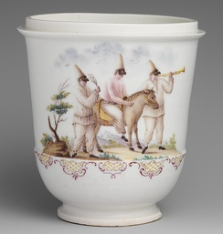 Capodimonte porcelain jar with three figures of Pulcinella from the commedia dell'arte, soft-paste, 1745-50.