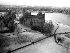 Near infra-red kite aerial photo of Linlithgow Palace looking westwards