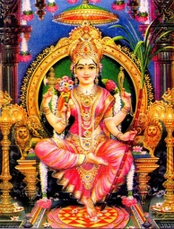 Sri Lalita-Tripurasundari enthroned with her left foot upon the Sri Chakra, holding her traditional symbols, the sugarcane bow, flower arrows, noose and goad.