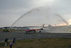 The last McDonnell Douglas DC-9 to fly for US Air arriving at Erie International Airport
