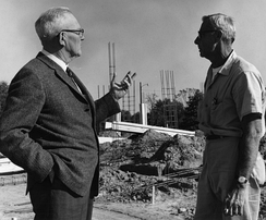 Campbell University's second president, Leslie Campbell, oversees construction on campus in the 1950s.