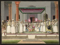 Nawab Mubarak Ali Khan with his son in the Nawab's Durbar with British Resident, Sir John Hadley