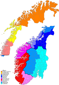The map shows the division of the Norwegian dialects within the main groups.