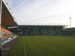 Franklin's Gardens is home to Northampton Saints, a successful Premiership rugby club.