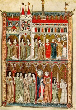Nuns in procession, French manuscript, c. 1300