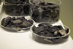 Obsidian imported from Milos, found in Minoan Crete.