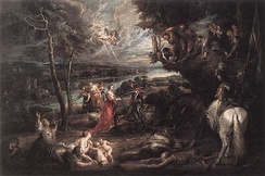 Rubens depicted Charles as a victorious and chivalrous Saint George in an English landscape, 1629–30.[c]