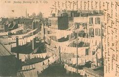 "This postcard, sent in 1907 and captioned ""Monday Morning in N. Y. City"", reflects the tradition of Monday as a day for washing clothes"