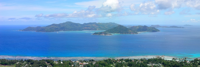 View of Praslin, the second largest island of the Seychelles