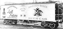 Anheuser-Busch refrigerated rail car on archbar freight trucks