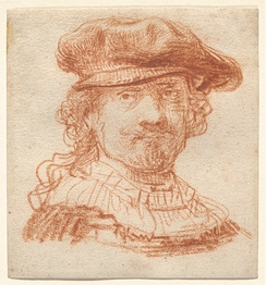 Self portrait of Rembrandt in red chalk.