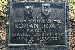 Plaque on Freemantle Common marking the route of the Roman Road from Chichester to Bitterne