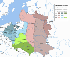 Partitions of Poland in 1795: the coloured territories show the extent of the Polish–Lithuanian Commonwealth just before the first partition. In blue (north-west), land absorbed by the Kingdom of Prussia, green (south) by Austria, and red (east) by the Russian Empire.