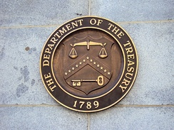 Seal on United States Department of the Treasury on the Building