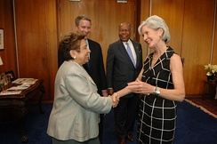 HHS Secretary Kathleen Sebelius greets Shalala, former Senate Majority Leader Bill Frist, and former HHS Secretary Louis Sullivan prior to a bipartisan health reform implementation meeting in Washington, D.C., in 2010.