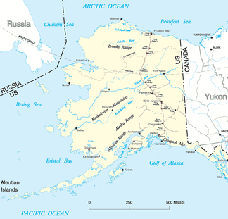 A map showing the Trans-Alaska Pipeline colored in red.