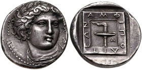 Left, a silver tetradrachm issued by the city of Amphipolis in 364–363 BC (before its conquest by Philip II of Macedon in 357 BC), showing the head of Apollo on the obverse and racing torch on the reverse. Right, a golden stater depicting Philip II, minted at Amphipolis in 340 BC (or later during Alexander's reign), shortly after its conquest by Philip II and incorporation into the Macedonian commonwealth