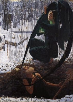 "Death and the Grave Digger (La Mort et le Fossoyeur) (c. 1895) by Carlos Schwabe is a visual compendium of symbolist motifs. The angel of Death, pristine snow, and the dramatic poses of the characters all express symbolist longings for transfiguration ""anywhere, out of the world""."