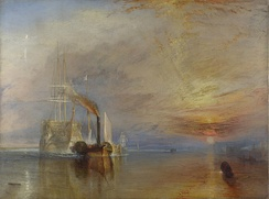 Turner's depiction of HMS Temeraire hero of the Battle of Trafalgar ignominiously towed by a little steamship.