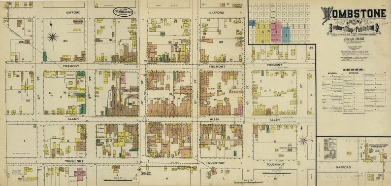 Fire insurance map of Tombstone in 1886