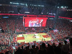 Inside the Toyota Center before tip off of Game 7 of the 2018 NBA Western Conference Finals between the Golden State Warriors and the Houston Rockets