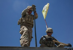 U.S. Army 310th Engineer Company soldiers maintaining a Mabey Logistic Support Bridge during the Battle of Raqqa, 29 July 2017