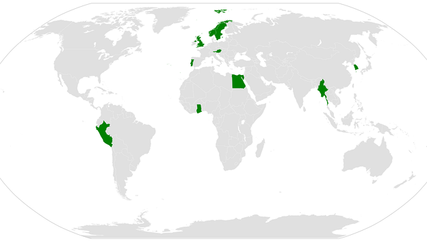 A map showing which nations have had a national serving as Secretary-General of the United Nations