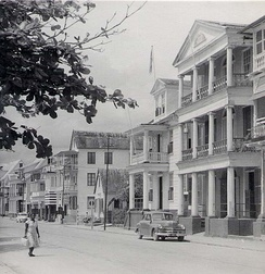 Waterfront houses in Paramaribo, 1955