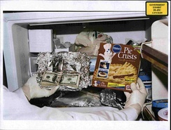 Photo of cash found in Congressman William J. Jefferson's freezer in the August 2005 raid was shown to jurors on 8 July 2009