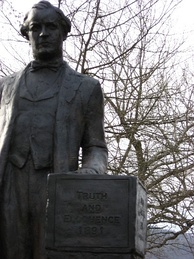 Statue of Bryan on the lawn of the Rhea County, Tennessee courthouse in Dayton, Tennessee