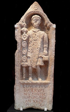 Memorial to Lucius Duccius Rufinus, a standard bearer of the Ninth Legion, Yorkshire Museum, York