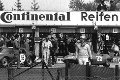 Hans Herrmann before the start of the 1965 1000km Nürburgring, behind him the Fiat Abarth