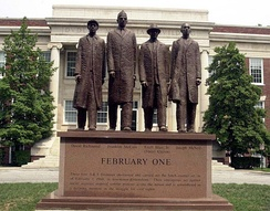 The February One monument and sculpture stands on North Carolina Agricultural and Technical State University's campus and is dedicated to the actions taken by the Greensboro Four that helped spark the Civil Rights Movement in the South.
