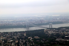 Aerial view of the George Washington Bridge and Manhattan from above Englewood, New Jersey