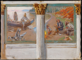 Lönnrot and the Oral Poets, sketch by Gallen-Kallela for uncompleted murals at the main building of University of Helsinki
