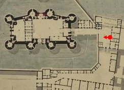 A plan of the Bastille and surrounding buildings made immediately after 1789; the red dot marks the perspective of Claude Cholat's painting of the siege.