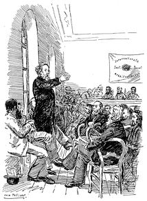 Mikhail Bakunin speaking to members of the International Workingmen's Association at the Basel Congress in 1869