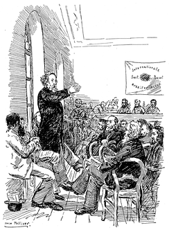 Bakunin speaking to members of the IWA at the Basel Congress in 1869
