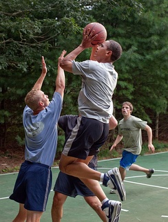 Barack Obama playing basketball while on vacation on Martha's Vineyard, August 2009