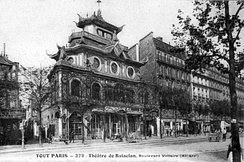 Postcard of the Bataclan with its original pagoda roof, c. 1900