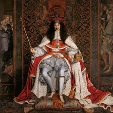 Charles II of England (1630–1685) in his coronation robes, 1661.  Cooper was one of twelve members of Parliament who travelled to the Dutch Republic to invite Charles to return to England, and in 1661, Charles created Cooper Lord Ashley.