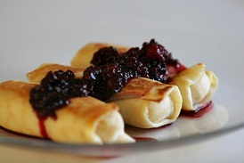 Cheese blintzes, a traditional food on Shavuot
