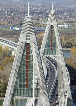 Megyeri Bridge on M0 highway ring road around Budapest