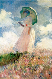 painting by Claude Monet of woman with parasol facing left in field from the Musée d'Orsay