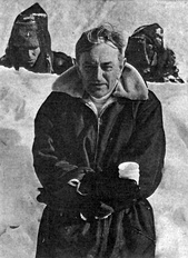 David Lean in Finland while filming Doctor Zhivago.