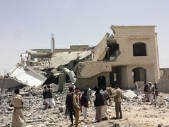 HRW wrote that the Saudi Arabian-led military intervention in Yemen that began on March 26, 2015 had conducted airstrikes in apparent violation of the laws of war.[7]