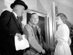 Williams reprised his Broadway role in Dial M for Murder for a 1958 Hallmark Hall of Fame television presentation.  Also pictured are Maurice Evans and Rosemary Harris.