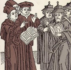 Woodcut carved by Johann von Armssheim (1483). Portrays a disputation between Christian and Jewish scholars