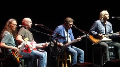 History of the Eagles tour, 2014, from left to right: Schmit, Leadon, Frey, and Walsh (Henley on drums not pictured).
